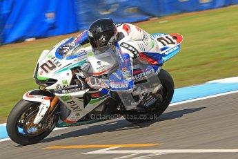 © Octane Photographic Ltd. 2012 World Superbike Championship – European GP – Donington Park. Friday 11th May 2012. WSBK Friday Qualifying practice. Leon Camier - Suzuki GSK-R1000. Digital Ref : 0330cb7d1612