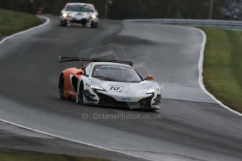 World © Octane Photographic Ltd. Avon Tyres British GT Championship Practice, Oulton Park, UK, Saturday 4th April 2015. McLaren 650S – Silver Cup, VonRyanRacing – Ross Wylie and Andrew Watson. Digital Ref : 1215LB1D2100