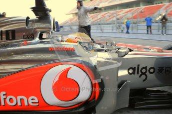World © Octane Photographic 2011. Formula 1 testing Monday 21st February 2011 Circuit de Catalunya. McLaren MP4/26 - Lewis Hamilton. Digital ref : 0012CB1D2620