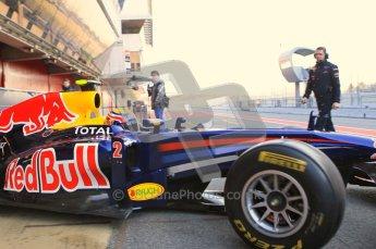 World © Octane Photographic 2011. Formula 1 testing Monday 21st February 2011 Circuit de Catalunya. Red Bull RB7 - Mark Webber. Digital ref : 0012CB1D2633
