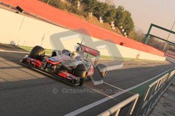 World © Octane Photographic 2011. Formula 1 testing Monday 21st February 2011 Circuit de Catalunya. McLaren MP4/26 - Lewis Hamilton. Digital ref : 0012CB1D2661