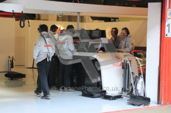 World © Octane Photographic 2011. Formula 1 testing Monday 21st February 2011 Circuit de Catalunya. McLaren garage. Digital ref : 0012CB1D2703