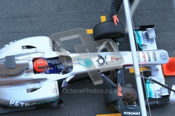 World © Octane Photographic 2011. Formula 1 testing Monday 21st February 2011 Circuit de Catalunya. Mercedes MGP W02 - Michael Schumacher. Digital ref : 0012CB1D2777