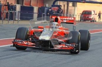 World © Octane Photographic 2011. Formula 1 testing Monday 21st February 2011 Circuit de Catalunya. Virgin MVR-02 - Jerome d'Ambrosio. Digital ref : 0012LW7D5377