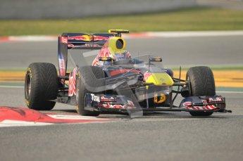 © Octane Photographic 2011. Formula 1 testing Sunday 20th February 2011 Circuit de Catalunya. Red Bull RB7 - Mark Webber. Digital ref : 0010CB1D1945