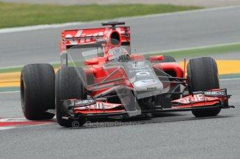 © Octane Photographic 2011. Formula 1 testing Sunday 20th February 2011 Circuit de Catalunya. Virgin MVR-02 - Timo Glock. Digital ref : 0010CB1D2264