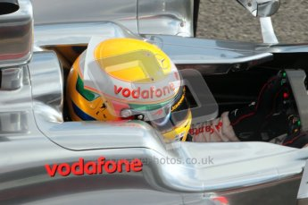 © Octane Photographic 2011. Formula 1 testing Sunday 20th February 2011 Circuit de Catalunya. McLaren MP4/26 - Lewis Hamilton. Digital ref : 0010CB1D2569