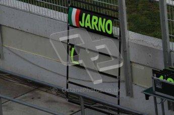 © Octane Photographic 2011. Formula 1 testing Sunday 20th February 2011 Circuit de Catalunya. Lotus - Jarno Trulli's pit board Digital ref : 0010LW7D4934