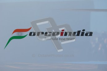 World © Octane Photographic 2010. © Octane Photographic 2011. Formula 1 testing Friday 18th February 2011 Circuit de Catalunya. Force India team logo. Digital ref : 0024CB1D0253