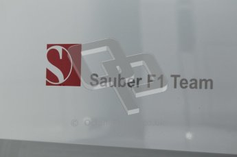 World © Octane Photographic 2010. © Octane Photographic 2011. Formula 1 testing Friday 18th February 2011 Circuit de Catalunya. Sauber team logo. Digital ref : 0024CB1D0256