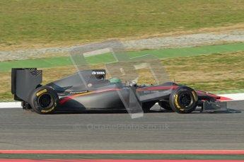 World © Octane Photographic 2010. © Octane Photographic 2011. Formula 1 testing Saturday 19th February 2011 Circuit de Catalunya. Hispania F110 - Vitantonio Liuzzi. Digital ref : 0025CB1D0485