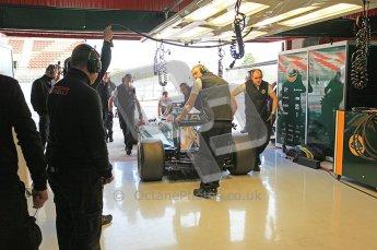 World © Octane Photographic 2011. Formula 1 testing Wednesday 9th March 2011 Circuit de Catalunya. Lotus garage. Lotus T124 - Jarno Trulli. Digital ref : 0020CB5D5724