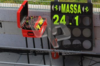 World © Octane Photographic 2011. Formula 1 testing Wednesday 9th March 2011 Circuit de Catalunya. Ferrari - Felipe Massa's pit board. Digital ref : 0020LW7D0510