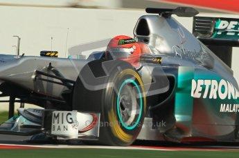 World © Octane Photographic 2011. Formula 1 testing Thursday 10th March 2011 Circuit de Catalunya. Mercedes MGP W02 - Michael Shumacher. Digital ref : 0023cb1d2885
