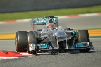 World © Octane Photographic 2011. Formula 1 testing Thursday 10th March 2011 Circuit de Catalunya. Mercedes MGP W02 - Michael Shumacher. Digital ref : 0023CB1D3186