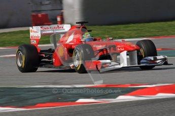 World © Octane Photographic 2011. Formula 1 testing Thursday 10th March 2011 Circuit de Catalunya. Ferrari 150° Italia - Felipe Massa. Digital ref : 0023LW7D1569