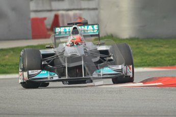 World © Octane Photographic 2011. Formula 1 testing Friday 11th March 2011 Circuit de Catalunya. Mercedes MGP W02 - Michael Schumacher. Digital ref : 0022CB1D3527