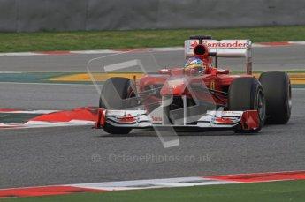 World © Octane Photographic 2011. Formula 1 testing Friday 11th March 2011 Circuit de Catalunya. Ferrari 150° Italia - Fernando Alonso. Digital ref : 0022LW7D2247