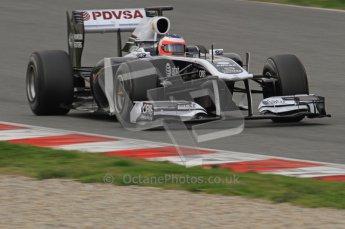 World © Octane Photographic 2011. Formula 1 testing Friday 11th March 2011 Circuit de Catalunya. Williams FW33 - Rubens Barrichello. Digital ref : 0022LW7D2984