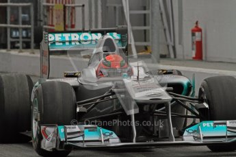 World © Octane Photographic 2011. Formula 1 testing Friday 11th March 2011 Circuit de Catalunya. Mercedes MGP W02 - Michael Schumacher. Digital ref : 0022LW7D3115