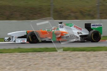 World © Octane Photographic 2011. Formula 1 testing Tuesday 8th March 2011 Circuit de Catalunya. Force India VJM04 - Paul di Resta. Digital ref : 0017LW7D7727