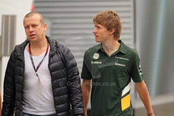 World © Octane Photographic Ltd. F1 Spanish GP Thursday 9th May 2013. Paddock and pitlane. Caterham - Charles Pic and Olivier Panis. Digital Ref : 0654cb7d8379
