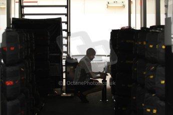 World © Octane Photographic Ltd. F1 Spanish GP Thursday 9th May 2013. Paddock and pitlane. Vodafone McLaren Mercedes tyre preparation. Digital Ref : 0654cb7d8380