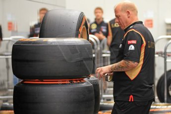World © Octane Photographic Ltd. F1 Spanish GP Thursday 9th May 2013. Paddock and pitlane. Lotus Pirelli tyre preparation. Digital Ref : 0654cb7d8424