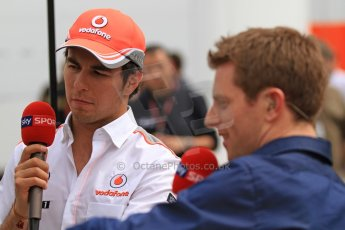 World © Octane Photographic Ltd. F1 Spanish GP Thursday 9th May 2013. Paddock and pitlane. Vodafone McLaren Mercedes - Sergio Perez being interviewed by Anthony Davidson of Sky Sports F1. Digital Ref : 0654cb7d8727