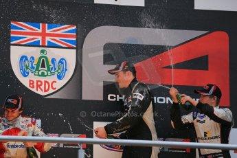 World © Octane Photographic Ltd. Brands Hatch, Race 4 Podium, Sunday 24th November 2013. BRDC Formula 4 Winter Series, MSV F4-13,  – Kieran Vernon (1st) - Hillspeed, Pietro Fittipaldi (2nd) – MGR and Sennan Fielding (3rd) – HHC Motorsport. Digital Ref : 0868lw1d8040