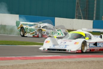 © Octane Photographic Ltd. 2012 Donington Historic Festival. Group C sportscars, qualifying. Jaguar XJR16 - Richard Eyre and Porsche 962C - Henrik Lindberg. Digital Ref : 0320cb1d8740