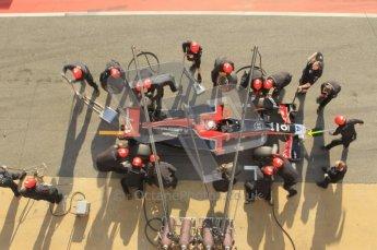 World © Octane Photographic 2011. Monday 21st February 2011 Circuit de Catalunya. Virgin MVR-02 - Jerome d'Ambrosio, pitstop practice. Digital ref : 0011CB1D2830