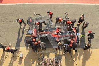 World © Octane Photographic 2011. Monday 21st February 2011 Circuit de Catalunya. Virgin MVR-02 - Jerome d'Ambrosio, pitstop practice. Digital ref : 0011CB1D2831