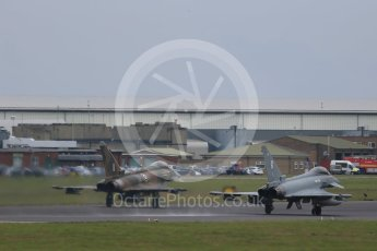 """World © Octane Photographic Ltd. October 6th 2015. RAF Coningsby. Eurofighter Typhoon FGR.4 ZK349 """"GN-A"""", 29Sqn, Battle of Britain commemorative scheme and Eurofighter Typhoon FGR.4 ZK320 """"BR"""". Digital Ref : 1454CB1D6662"""