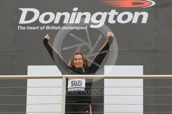 World © Octane Photographic Ltd. 5th February 2016 – Donington Park Racetrack. Suzi Perry launches the 2016 Donington Park Summer Running Festival. Digital Ref : 1500CB1D0342