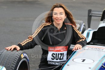 World © Octane Photographic Ltd. 5th February 2016 – Donington Park Racetrack. Suzi Perry launches the 2016 Donington Park Summer Running Festival with a Formula e car. Digital Ref : 1500CB1D0504