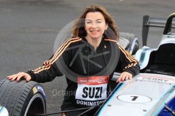 World © Octane Photographic Ltd. 5th February 2016 – Donington Park Racetrack. Suzi Perry launches the 2016 Donington Park Summer Running Festival with a Formula e car. Digital Ref : 1500CB1D0508