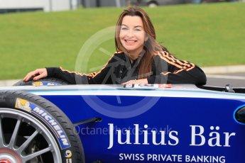 World © Octane Photographic Ltd. 5th February 2016 – Donington Park Racetrack. Suzi Perry launches the 2016 Donington Park Summer Running Festival with a Formula e car. Digital Ref : 1500CB1D0532