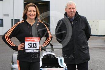 World © Octane Photographic Ltd. 5th February 2016 – Donington Park Racetrack. Suzi Perry and Brendan Foster launch the 2016 Donington Park Summer Running Festival with a Formula e car. Digital Ref : 1500CB7D6192