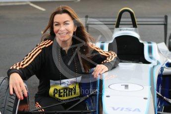 World © Octane Photographic Ltd. 5th February 2016 – Donington Park Racetrack. Suzi Perry launches the 2016 Donington Park Summer Running Festival with a Formula e car. Digital Ref : 1500CB7D6251