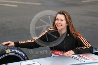 World © Octane Photographic Ltd. 5th February 2016 – Donington Park Racetrack. Suzi Perry launches the 2016 Donington Park Summer Running Festival with a Formula e car. Digital Ref : 1500LB1D6690