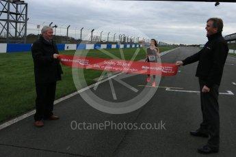 World © Octane Photographic Ltd. 5th February 2016 – Donington Park Racetrack. Suzi Perry and Brendan Foster launch the 2016 Donington Park Summer Running Festival. Digital Ref : 1500LB5D6268