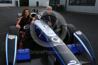 World © Octane Photographic Ltd. 5th February 2016 – Donington Park Racetrack. Suzi Perry and Brendan Foster launch the 2016 Donington Park Summer Running Festival with Formula e car. Digital Ref : 1500LB5D6377