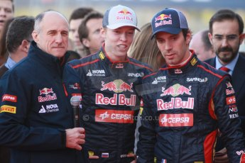 World © Octane Photographic Ltd. 2014 Formula 1 Winter Testing, Circuito de Velocidad, Jerez. Tuesday 27th January 2014. Day 1. Scuderia Toro Rosso STR9 – Launch. Franz Tost, Jean-Eric Vergne and Daniil Kvyat. Digital Ref: 0880cb1d8943