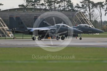 """World © Octane Photographic Ltd. RAF Lakenheath operations 16th November 2015, USAF (United States Air Force) 48th Fighter Wing """"Statue of Liberty Wing"""" 494 Fighter Squadron """"Panthers"""", McDonnell Douglas F-15E Strike Eagle LN 00-3001and LN 98-132. Digital Ref : 1469CB1D3757"""