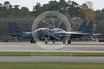 """World © Octane Photographic Ltd. RAF Lakenheath operations 16th November 2015, USAF (United States Air Force) 48th Fighter Wing """"Statue of Liberty Wing"""" 494 Fighter Squadron """"Panthers"""", McDonnell Douglas F-15E Strike Eagle LN 00-3001and LN 98-132. Digital Ref : 1469CB1D3759"""