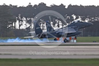 """World © Octane Photographic Ltd. RAF Lakenheath operations 16th November 2015, USAF (United States Air Force) 48th Fighter Wing """"Statue of Liberty Wing"""" 492 Fighter Squadron """"Madhatters"""", McDonnell Douglas F-15E Strike Eagle LN 91-327. Digital Ref : 1469CB1D3956"""