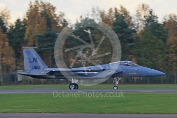 """World © Octane Photographic Ltd. RAF Lakenheath operations 16th November 2015, USAF (United States Air Force) 48th Fighter Wing """"Statue of Liberty Wing"""" 493 Fighter Squadron """"The Grim Reapers"""", McDonnell Douglas F-15C Eagle LN 86-160. Digital Ref : 1469CB7D0472"""