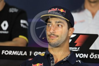 World © Octane Photographic Ltd. F1 Austrian GP FIA Drivers' Press Conference, Red Bull Ring, Spielberg, Austria. Thursday 30th June 2016. Red Bull Racing – Daniel Ricciardo . Digital Ref :1596LB1D4988