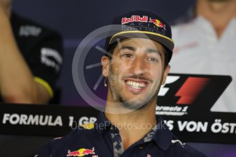 World © Octane Photographic Ltd. F1 Austrian GP FIA Drivers' Press Conference, Red Bull Ring, Spielberg, Austria. Thursday 30th June 2016. Red Bull Racing – Daniel Ricciardo . Digital Ref :1596LB1D5184